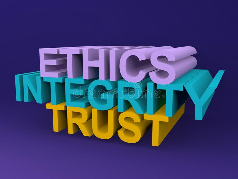 Ethics integrity trust. An concept illustration with words ethics, integration and trust stock images