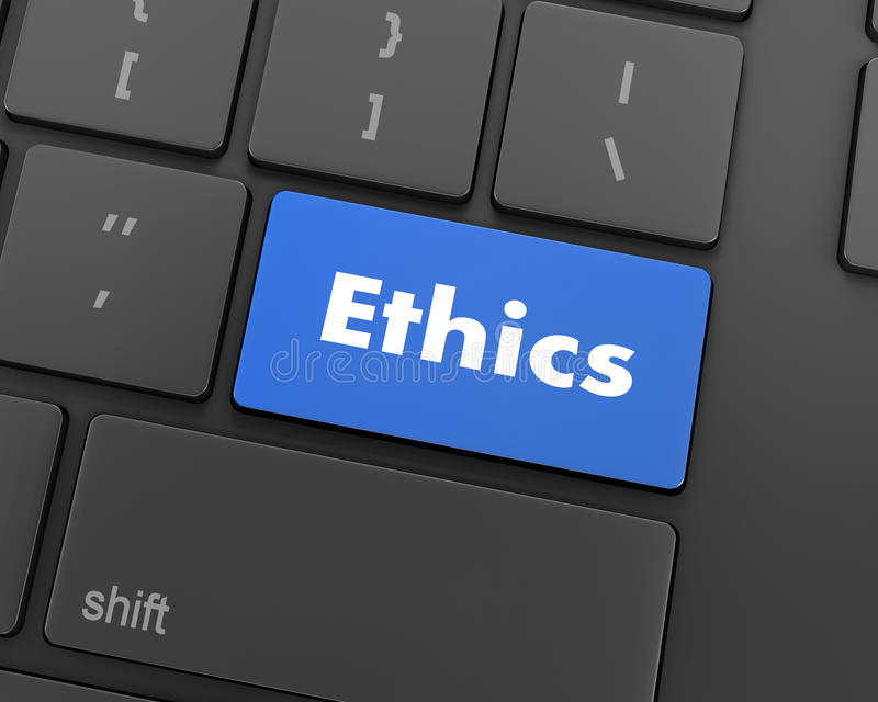 Ethics. A keyboard with a key reading ethics, raster, 3d rendering royalty free stock photos