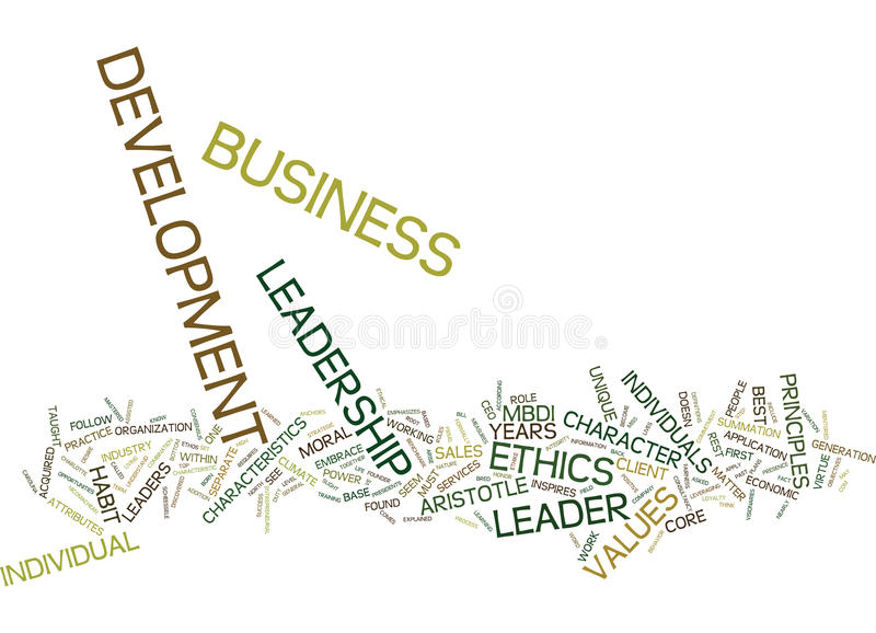 Ethics Leadership In Business Development Text Background Word Cloud Concept stock photos