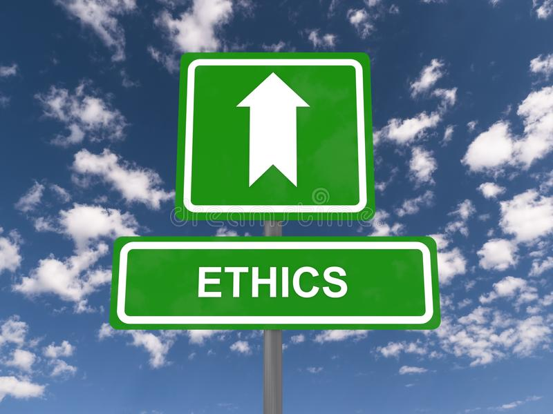 Ethics. Text 'ethics' in white uppercase letters on a green highway style sign with another green sign above it containing a large white arrow, blue sky and stock image