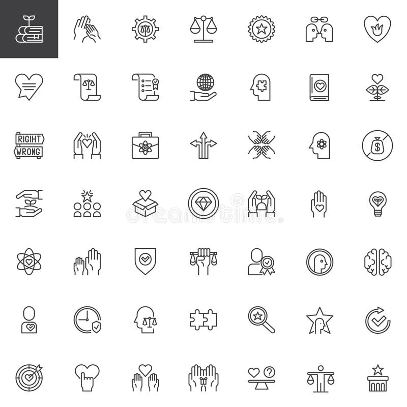 Ethics Universal Outline Icons Set Stock Vector Illustration Of