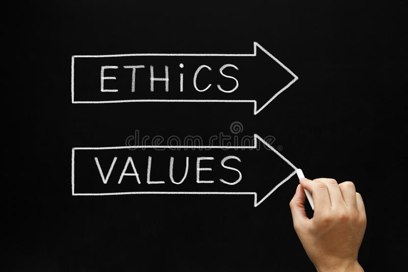 Ethics and Values Arrows Concept. Hand sketching Ethics and Values arrows concept with white chalk on a blackboard stock images