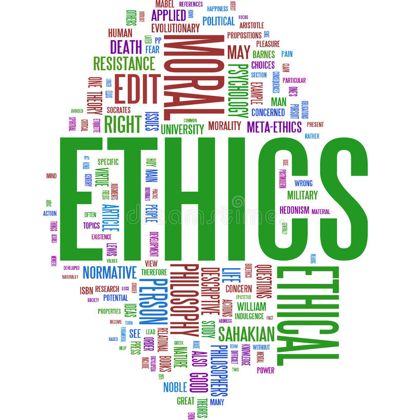 Ethics word cloud. On white background