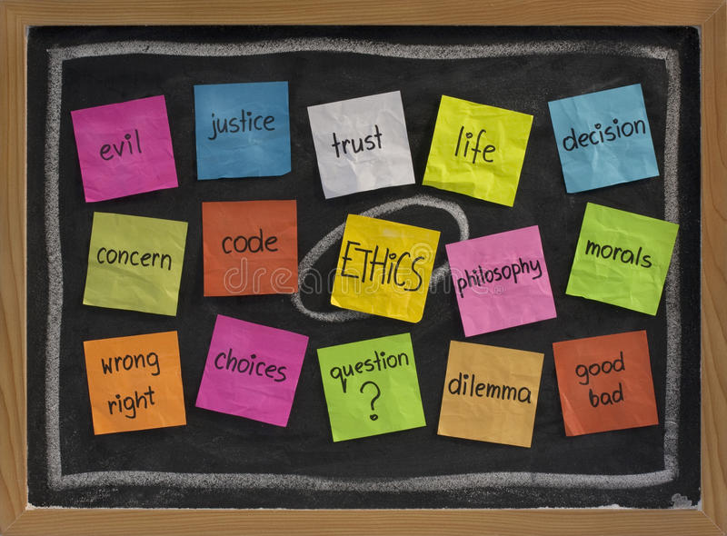 Ethics word cloud. Cloud of words related to ethics, color sticky notes on blackboard stock image