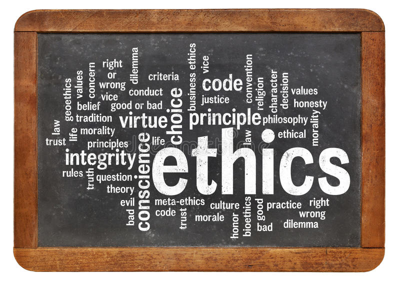 Ethics word cloud. Cloud of words or tags related to ethics and moral dilemma on a vintage slate blackboard royalty free stock image