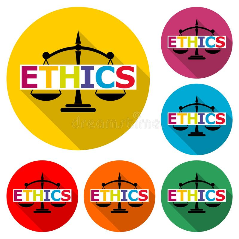 Ethics word, Ethics text, Ethics icon or logo, color set with long shadow. On white stock illustration