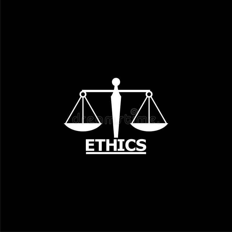 Ethics word, Ethics text, Ethics icon or logo on dark background. White Ethics word, Ethics text, Ethics icon or logo on dark background royalty free illustration