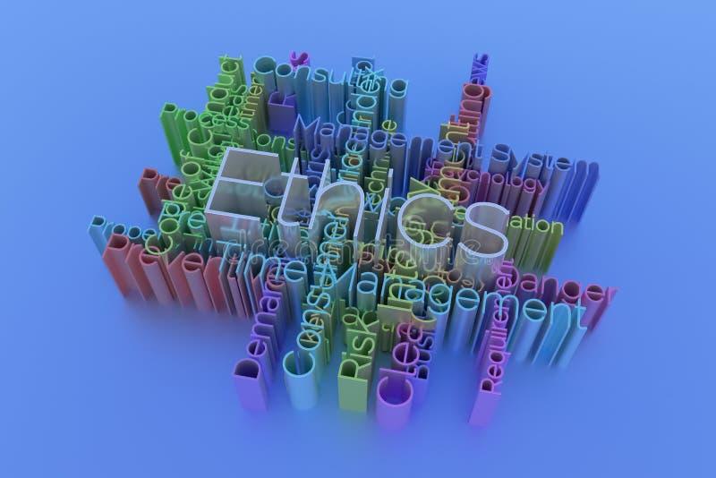 Ethiek, bedrijfssleutelwoord en woordenwolk Voor webpagina, grafisch ontwerp, textuur of achtergrond het 3d teruggeven stock illustratie