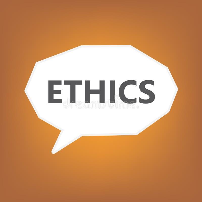 Ethiek op toespraakbel die wordt geschreven stock illustratie