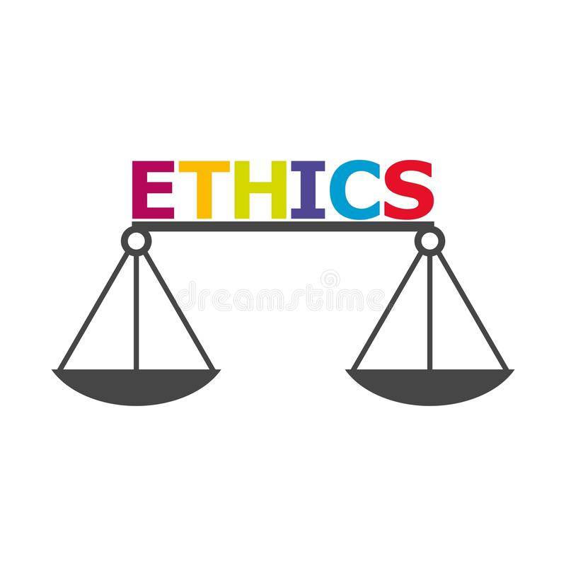 Ethik fasst, Ethik simst, Ethikikone oder Logo ab stock abbildung