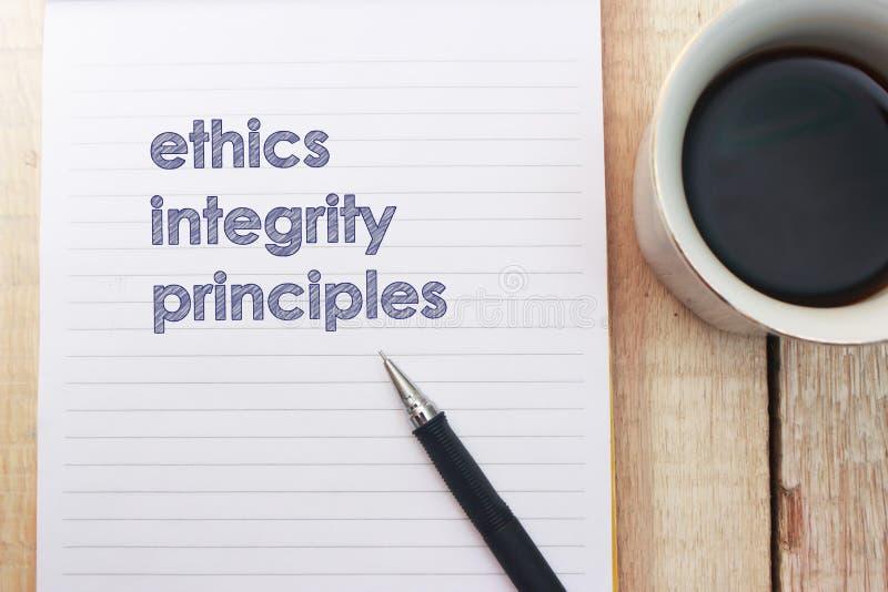 Ethik-Integrit?ts-Prinzipien, Gesch?fts-Wort-Zitat-Konzept lizenzfreies stockbild