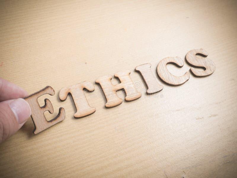 ethik Wort-Typografie-Konzept lizenzfreies stockfoto