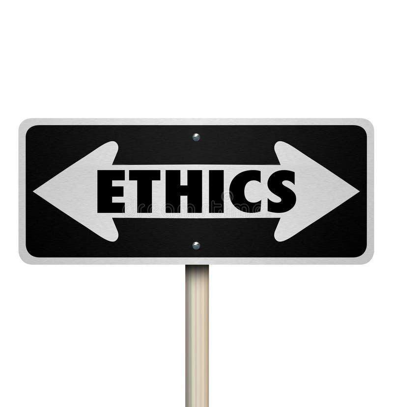 Ethik-Zweiwegverkehrsschild-Recht gegen falsche gute schlechte Wahl stock abbildung