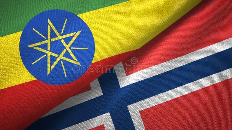 Ethiopië en Noorwegen twee vlaggen textieldoek, stoffentextuur royalty-vrije illustratie