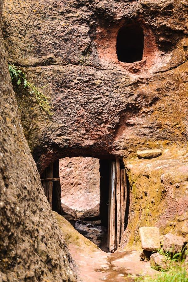 Ethiopië, Lalibela. De besnoeiingskerk van de Monioliticrots stock afbeeldingen