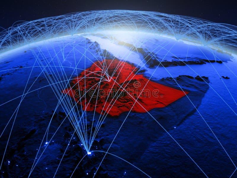 Ethiopië op blauwe digitale aarde met internationaal netwerk die mededeling, reis en verbindingen vertegenwoordigen 3d royalty-vrije stock foto's