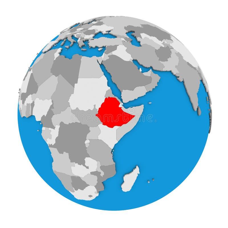Ethiopië op bol vector illustratie
