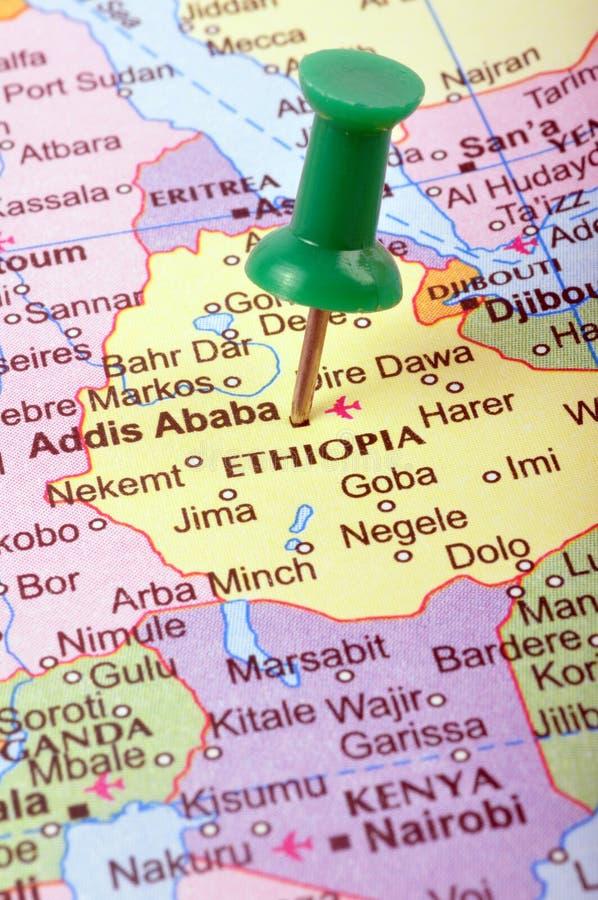 Ethiopië op kaart stock afbeelding