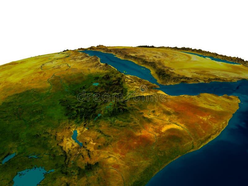 Ethiopië op model van aarde royalty-vrije illustratie