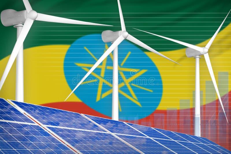 Ethiopië zonne en digitaal de grafiekconcept van de windenergie - vernieuwbare natuurlijke energie industriële illustratie 3D Ill royalty-vrije illustratie