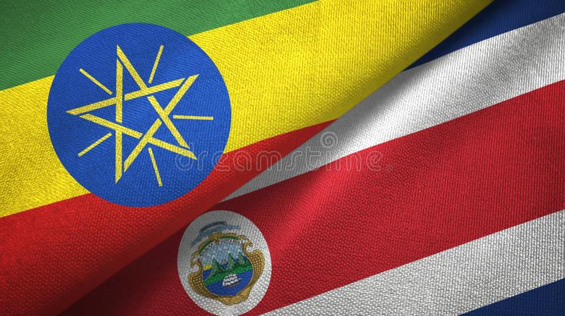 Ethiopia and Costa Rica two flags textile cloth, fabric texture vector illustration
