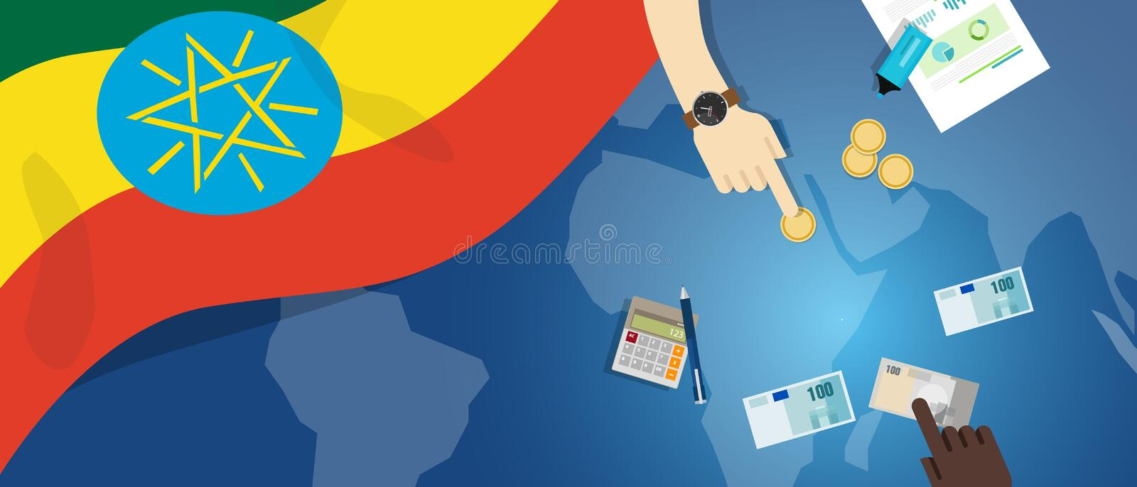 Ethiopia economy fiscal money trade concept illustration of financial banking budget with flag map and currency. Vector vector illustration