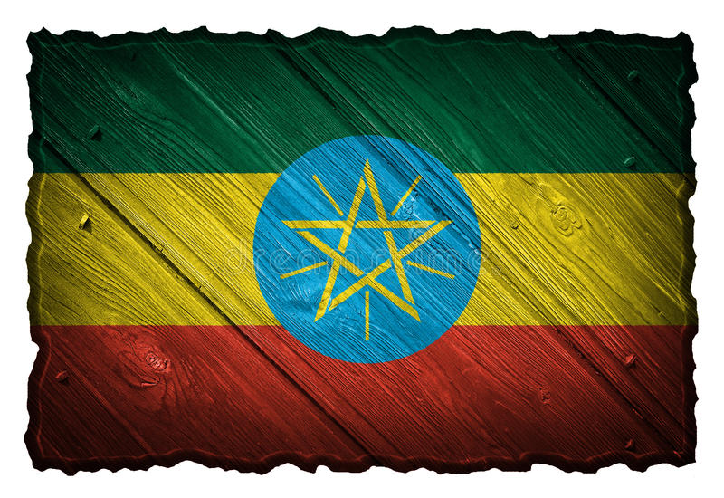 Ethiopia flag. Painted on wooden tag royalty free stock photography