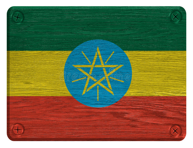 Ethiopia flag. Painted on wooden tag royalty free stock images
