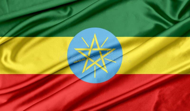 Ethiopia flag texture background. Ethiopia flag wave silk texture background royalty free illustration