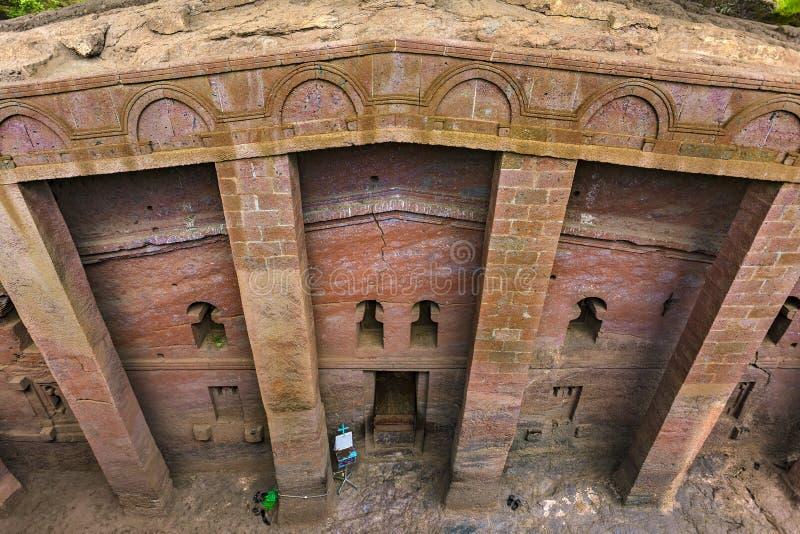 Bet Medhane Alem, Lalibela. Ethiopia, Lalibela. Bet Medhane Alem House of the Saviour of the World, the largest rock-hewn church. The churches of Lalibela is on stock photo
