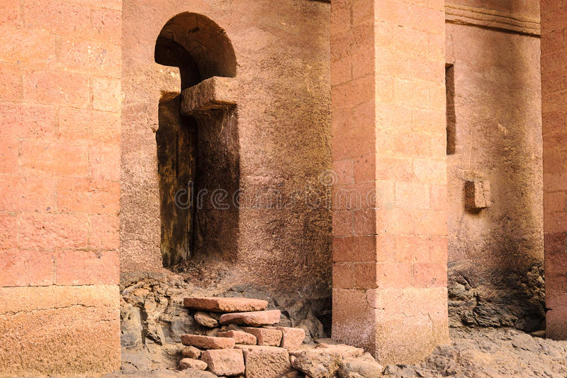 Ethiopia, Lalibela. Moniolitic rock cut church royalty free stock photo