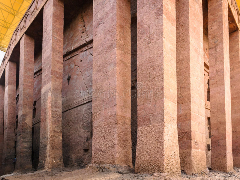 Ethiopia, Lalibela. Moniolitic rock cut church stock images