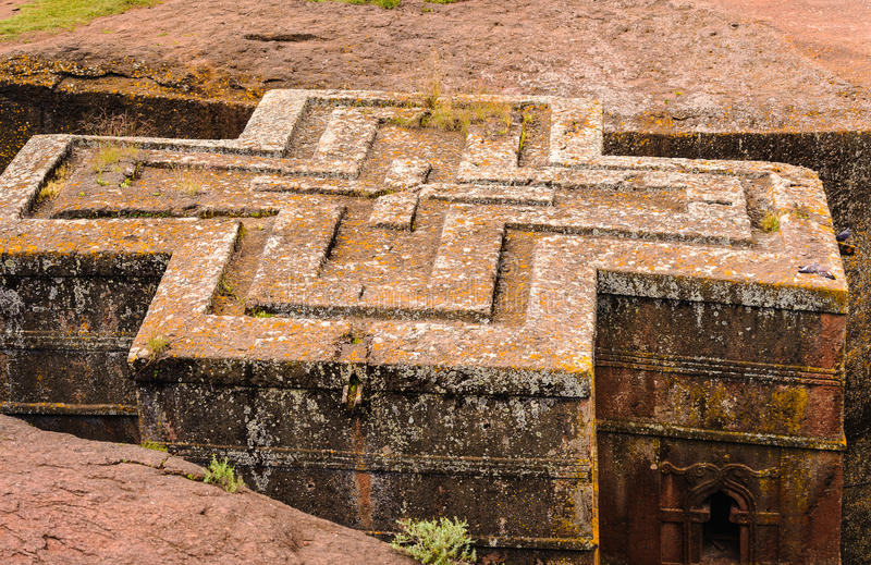 Ethiopia, Lalibela. Moniolitic rock cut church. St. George Church, carved from solid rock in the shape of a cross, Lalibela, Ethiopia stock photography