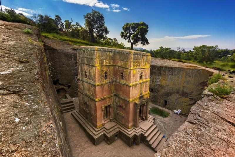 St George Church, Lalibela. Ethiopia, Lalibela. Monolithic church of Saint George Bet Giyorgis in Amharic in the shape of a cross. The churches of Lalibela is on royalty free stock photography