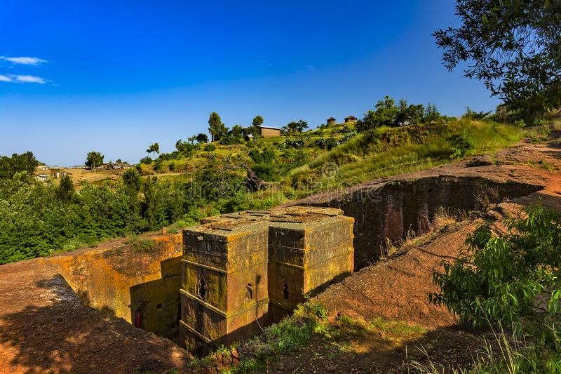 St George Church, Lalibela. Ethiopia, Lalibela. Monolithic church of Saint George Bet Giyorgis in Amharic in the shape of a cross. The churches of Lalibela is on stock image