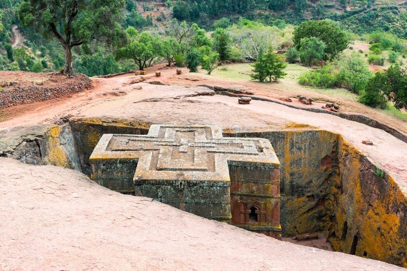 Ethiopia. Lalibela, the monolithic underground Saint George Orthodox church stock photography