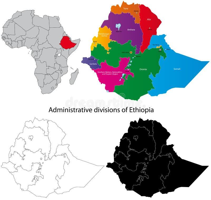 Ethiopia map. Administrative division of the the Federal Democratic Republic of Ethiopia