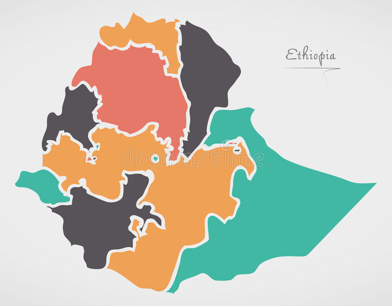 Ethiopia Map with states and modern round shapes. Illustration royalty free illustration