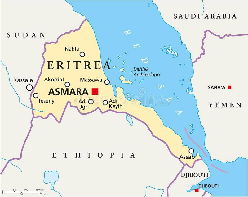 Ethiopia Political Map stock vector Illustration of ocean 103226043