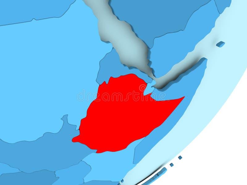 Map Of Ethiopia On Blue Political Globe Stock Illustration ...
