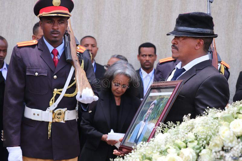 Ethiopia`s President Sahle-Work Zewde on a funeral service of Former Ethiopian President Dr. Negasso Gidada. President Sahle-Work Zewde on a funeral of Former stock images