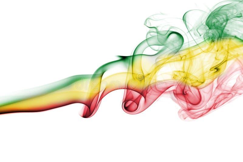 Ethiopia national smoke flag. Ethiopia smoke flag isolated on a white background royalty free stock image