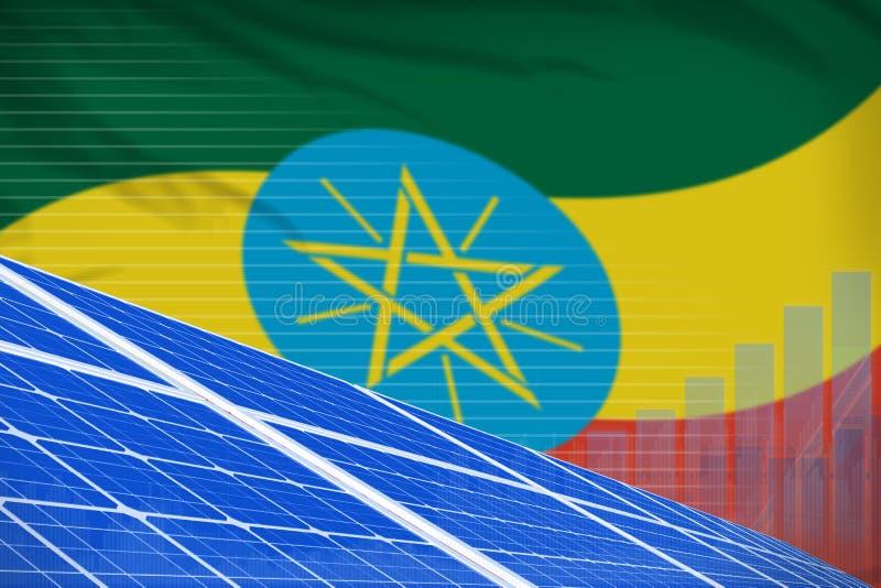 Ethiopia solar energy power digital graph concept - modern natural energy industrial illustration. 3D Illustration stock illustration