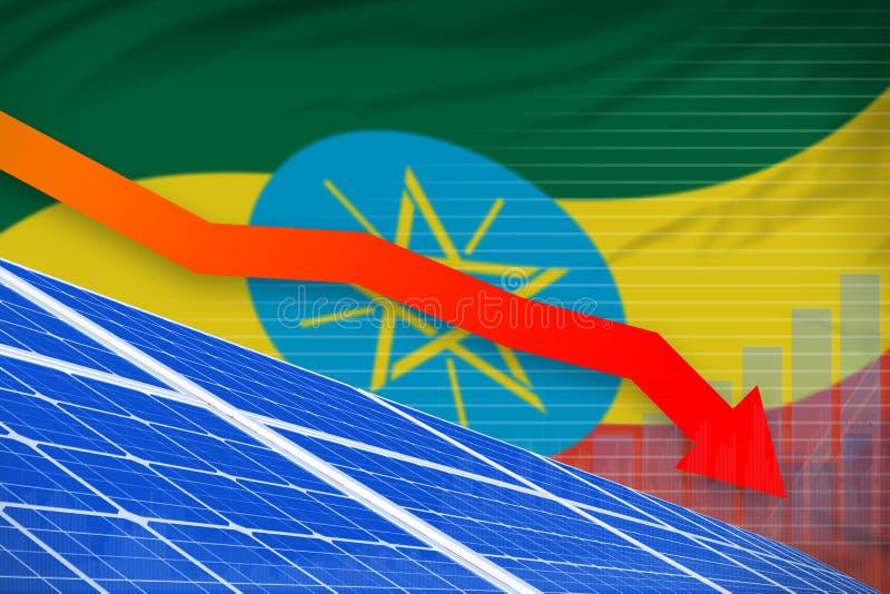 Ethiopia solar energy power lowering chart, arrow down - renewable natural energy industrial illustration. 3D Illustration vector illustration