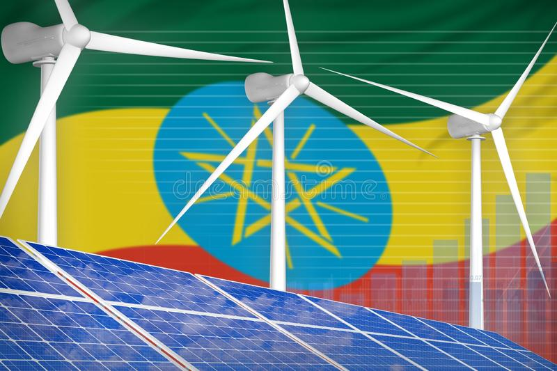 Ethiopia solar and wind energy digital graph concept - renewable natural energy industrial illustration. 3D Illustration royalty free illustration