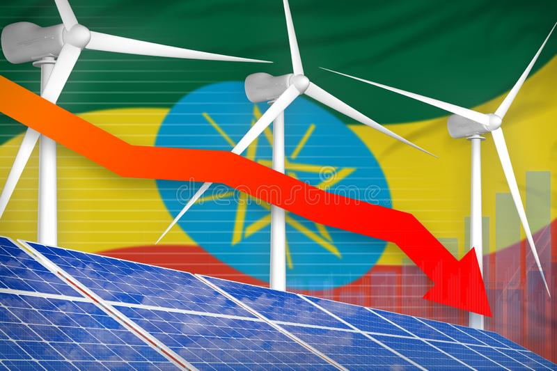 Ethiopia solar and wind energy lowering chart, arrow down - modern natural energy industrial illustration. 3D Illustration royalty free illustration