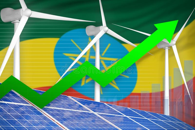 Ethiopia solar and wind energy rising chart, arrow up - environmental natural energy industrial illustration. 3D Illustration stock illustration
