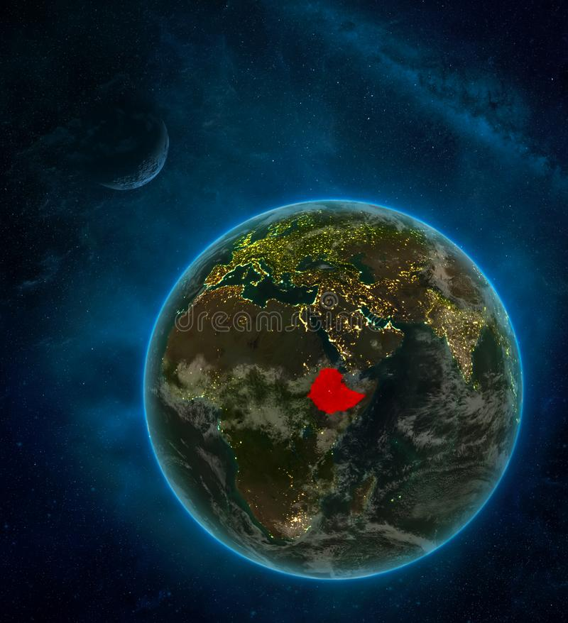 Ethiopia from space on Earth at night surrounded by space with Moon and Milky Way. Detailed planet with city lights and clouds. 3D. Illustration. Elements of vector illustration