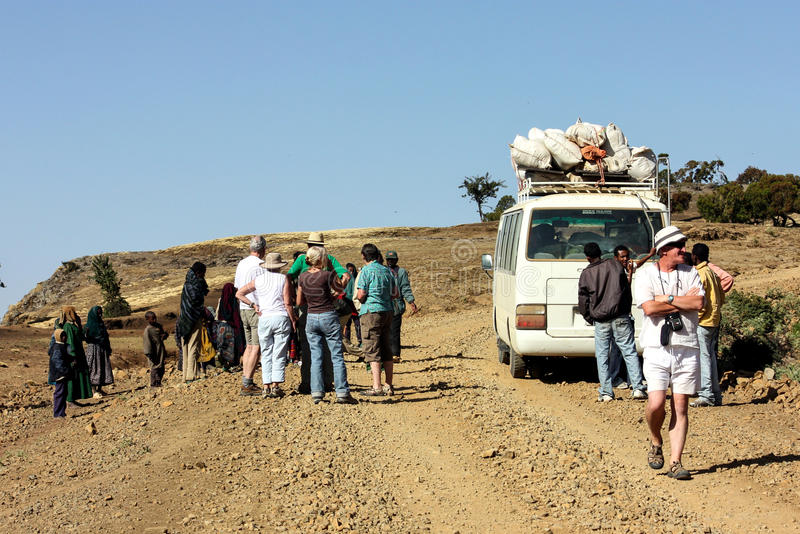 Ethiopia. Tourists having a stop on the way to Simien Mountains, Northern Ethiopia royalty free stock photography