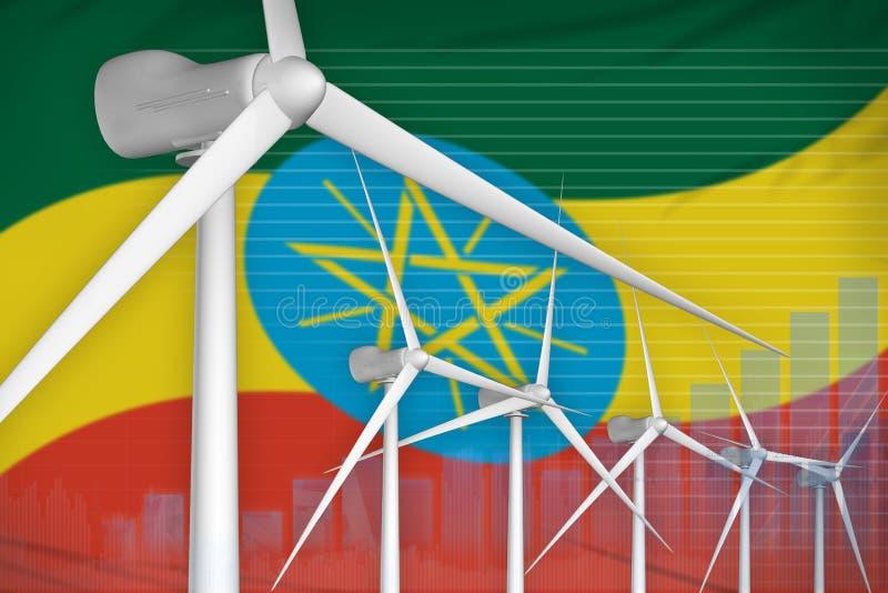 Ethiopia wind energy power digital graph concept - renewable natural energy industrial illustration. 3D Illustration royalty free illustration